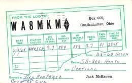Amateur Radio QSL - WA8MKM - Gnadenhutten, OH -USA- 1965 - 2 Scans - Radio Amateur