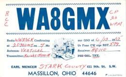Amateur Radio QSL - WA8GMX - Massillon, OH -USA- 1965 - 2 Scans - Radio Amateur