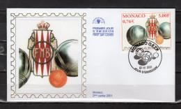 """MONACO 2001 : Enveloppe 1er Jour En Soie """" 37ème CHAMPIONNAT DU MONDE DE PETANQUE """" N° YT 2303. Parfait état. FDC"""