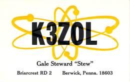 Amateur Radio QSL - K3ZOL - Berwick, PA -USA- 1966 - 2 Scans - Radio Amateur