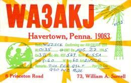 Amateur Radio QSL - WA3AKJ - Havertown, PA -USA- 1965 - 2 Scans - Radio Amateur