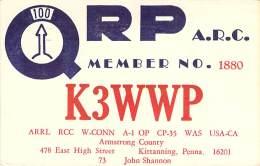 Amateur Radio QSL - K3WWP - Kittanning, PA -USA- 1965 - 2 Scans - QRP Operator - Radio Amateur