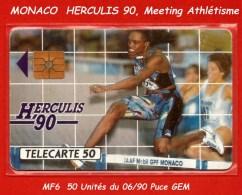 BELLE TELECARTE MONACO, Utilisée De 50 Unités HERCULIS 90 Réf.MF6 Du 06/90 Puce GEM - Monaco