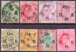 INDIA 1902-09 SG #O56//O67 Eight Used Official Stamps (KEVII Era) Small Scratch On 1r - India (...-1947)