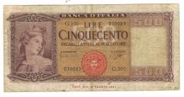 Italy, 500 Lire, 1948. P-80b. Used But Rare.  Free Ship. To USA. - [ 2] 1946-… : Républic