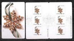 """CANADA, MNH, 2012, # 2585a, # 515,  CHRISTMAS GINGERBREAD COOKIES,  """"INTERNATIONAL Rate"""" - Full Booklets"""