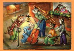MAX-25 Chats Humanisés Jouant Dans Un Orchestre.  Circulé Sous Enveloppe. - Animales Vestidos