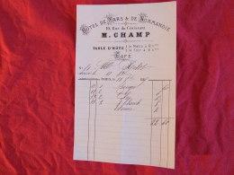 M. Champ , Hotel De Mars & De Normandie 10 Rue Du Croissant à Paris. Facture De 1889. - France