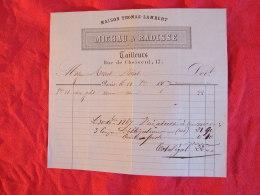Michau & Radisse , Tailleurs , 17 Rue De Choiseul à Paris. Facture De 1867. - France