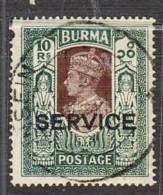 "BURMA: KGVI, 1939, OVPT ""SERVICE"". 10 Rup. GREEN/PURPLE. SG027, TOP VALUE. CV £ 50.00 - Myanmar (Burma 1948-...)"