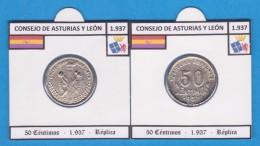 CONSEJO DE ASTURIAS Y LEÓN 50 Céntimos 1.937 - Réplica  T-DL-11.807 - Republican Location