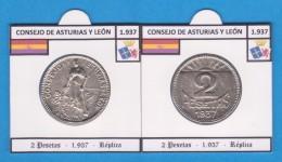 CONSEJO DE ASTURIAS Y LEÓN 2 Pesetas 1.937 - Réplica  T-DL-11.809 - Republican Location