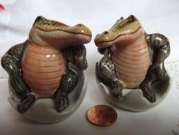 SEL POIVRE SALIERE POIVRIER CROCODILE PORCELAIN SALT PEPPER HAND PAINTED CERAMIC - Tiere