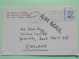 USA 1985 Postcard To England - Robert Millikan - Museum Of Zoology Logo - Etats-Unis