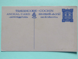 Travancore - Cochin Stationery Postcard - Elephants - Travancore
