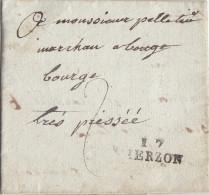 France: Lettre Cachet Linéaire - L.A.C  17 VIERZON 20 Nov 1807.-recto/verso - Manual Postmarks