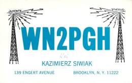 Amateur Radio QSL - WN2PGH - Brooklyn, NY -USA- 1965 - 2 Scans - Radio Amateur