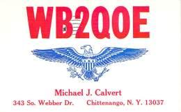 Amateur Radio QSL - WN2QOE - Chittenango, NY -USA- 1965 - 2 Scans - Radio Amateur