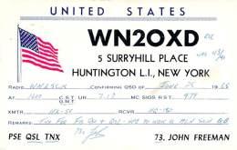 Amateur Radio QSL - WN2OXD - Huntington, Long Island, NY -USA- 1965 - 2 Scans - Radio Amateur