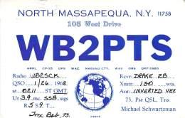 Amateur Radio QSL - WB2PTS - North Massapequa, NY -USA- 1968 - 2 Scans - Radio Amateur