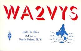 Amateur Radio QSL - WA2VYS - South Salem, NY -USA- 1965 - 2 Scans - Radio Amateur