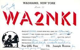 Amateur Radio QSL - WA2NKI - Wadhams, NY -USA- 1966 - 2 Scans - Radio Amateur