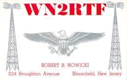 Amateur Radio QSL - WN2RTF - Bloomfield, NJ -USA- 1965 - 2 Scans - Radio Amateur