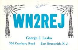 Amateur Radio QSL - WN2REJ - East Brunswick, NJ -USA- 1965 - 2 Scans - Radio Amateur
