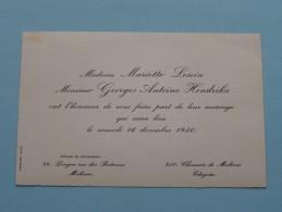 Huwelijk LESOIN / HENDRICKX Malines / Edegem - 16 Dec 1950 ( Zie Foto´s Voor Detail ) ! - Mariage