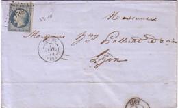 DROME - LORIOL - LE 7 JUILLET 1854 - PRESIDENCE N°10 OBLITERATION PC1762 - SUPERBE - COTE 80€. - Marcophilie (Lettres)