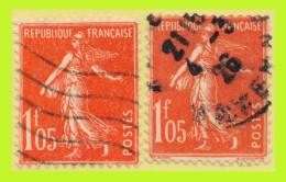 N° 195 SEMEUSE FOND PLEIN 1924-26 - 2 EXEMPLAIRES OBLITÉRÉS - - 1906-38 Semeuse Camée