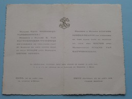 Huwelijk Hector SOMERS - Suzane Van HAUWERMEIREN ( Mons / Hove ) 20 Aout 1925 ( Zie Foto´s Voor Detail ) ! - Mariage