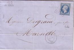 DROME - LORIOL - LE 10 NOVEMBRE 1859 - EMPIRE N°14 OBLITERATION PC1762 - OR DE MIRMANDE. - Marcophilie (Lettres)
