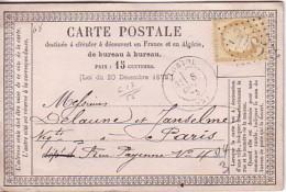 DROME - LORIOL - LE 8 OCTOBRE 1873 - CERES 15c OBLITERATION GC2085 - CARTE PRECURSEUR. - Marcophilie (Lettres)