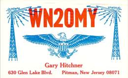 Amateur Radio QSL - WN2OMY - Pitman, NJ -USA- 1971- 2 Scans - Radio Amateur