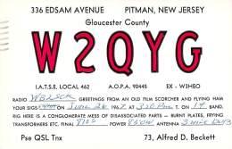 Amateur Radio QSL - W2QYG - Pitman, NJ -USA- 1967 - 2 Scans - Radio Amateur