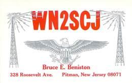 Amateur Radio QSL - WN2SCJ - Pitman, NJ -USA- 1965 - 2 Scans - Radio Amateur