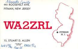 Amateur Radio QSL - WA2ZRL - Pitman, NJ -USA- 1965 - 2 Scans - Radio Amateur