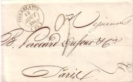 DROME - PIERRELATTE - T14 LE 12 AOUT 1845 - TAXE 9 MANUSCRITE POUR PARIS. - Marcophilie (Lettres)