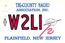 Amateur Radio QSL - W2LI/2 Tri-County Radio Assoc. Plainfield, NJ -USA- 1966 Field Day - 2 Scans - Radio Amateur