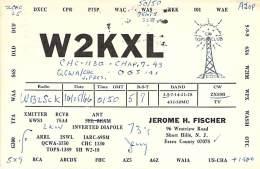 Amateur Radio QSL - W2KXL - Short Hills, NJ -USA- 1966 - 2 Scans - Radio Amateur