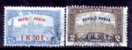 Ungheria-00060 - 1918: Posta Aerea, Y&T N. 1, 2 (o) Used - Privo Di Difetti Occulti - Posta Aerea
