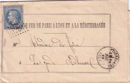 DROME - PIERRELATTE - LE 23 DECEMBRE 1869 - EMPIRE N°29 OBLITERATION GC2856 - FORMULAIRE CHEMIN DE FER. - Marcophilie (Lettres)