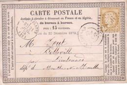 DROME - PIERRELATTE - LE 21 JUILLET 1875 - CERES 15c OBLITERATION GC2856 - CARTE PRECURSEUR. - Marcophilie (Lettres)