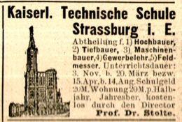 Original-Werbung/ Anzeige 1898 - KAISERLICH TECHNISCHE SCHULE STRASSBURG  - Ca.  45 X 35 Mm - Werbung