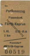 Österreich - Personenzug - Piesendorf Fürth-Kaprun - Fahrkarte 3.Klasse 0.15RM 1939 - Treni