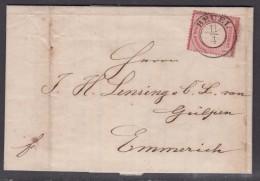 Dt.Reich 1872 Kpl. Faltbrief EF 4 Mit Besserem, Nachverwendetem Preussischen K2 Beuel/11.4. Nach Emmerich - Covers & Documents