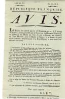 REPUBLIQUE FRANCAISE - AVIS  - 19 X 33 Cm - Edit. BRUGES, Imprimerie J. BOGAERT Et FILS - Décrets & Lois