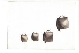 15046 - Petite Aquarelle  Quatre Petites Cloches De Vache (format 13 X 9) - Aquarelles