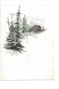 15048 - Petite Aquarelle  Chalet Sapins Montagnes Suisses (format 13 X 9) - Aquarelles